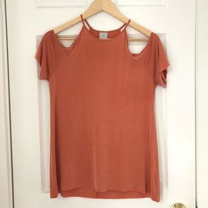 Orange Zara blouse with cut-out sleeves